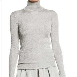 Talbots metallic silver turtleneck sweater